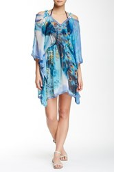 Sheer Cold Shoulder Kaftan Blue