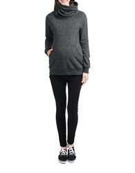 Kimi Kai Maternity Gathered Turtleneck Side Zip Sweatshirt Black
