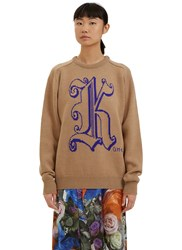 Christopher Kane Intarsia Logo Knit Sweater Beige