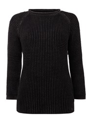 Replay Garment Dyed Cotton Jumper Black