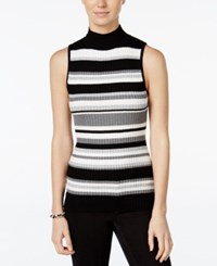 It's Our Time Juniors' Striped Mock Neck Sweater Black Silver Grey