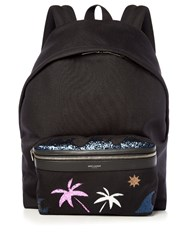 Saint Laurent Palm Tree Embellished Backpack Black Multi