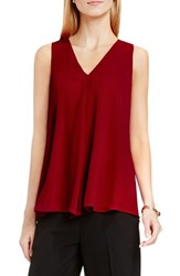 Vince Camuto Women's Drape Front V Neck Sleeveless Blouse Malbec Red