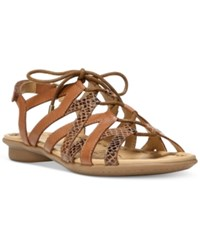 Naturalizer Whimsy Lace Up Flat Sandals Women's Shoes Saddle Tan