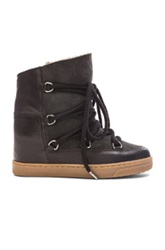 Etoile Isabel Marant Isabel Marant Etoile Nowles Shearling And Leather Boots In Black