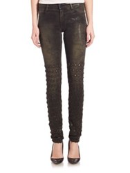 Brockenbow Metallic Embroidered Skinny Jeans Army Ghost