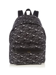 Saint Laurent Car Print Canvas Backpack Black Multi