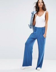 Asos Slouch Wide Leg Trousers With Drop Pockets Dusty Blue