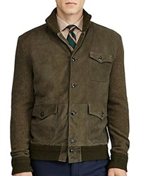 Polo Ralph Lauren Suede Panel Cardigan Sweater Jacket Olive
