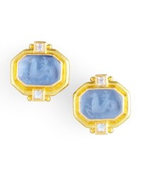 Elizabeth Locke Cherub And Sea Horse Intaglio Clip Post Earrings Cerulean
