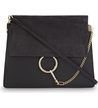 Chloe Faye Leather And Suede Satchel Carbon Grey