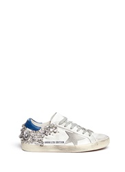 Golden Goose 'Super Star' Crystal Heel Worn Effect Leather Sneakers White