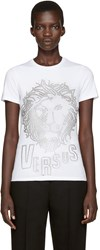 Versus White Eyelet Lion T Shirt