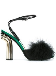 Marco De Vincenzo Feather Embellished Satin Sandals Black