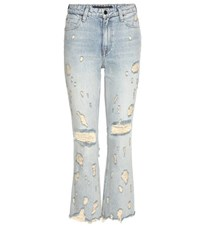 Alexander Wang Grind High Rise Cropped Flared Jeans Blue