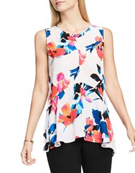 Vince Camuto Sleeveless Rendezvous Floral Ruffle Front Blouse Rose Bluff