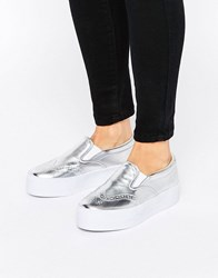 Asos Derby Brogue Trainers Silver