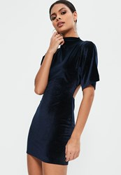 Missguided Navy Velvet Kimono Sleeve Open Back Bodycon Dress
