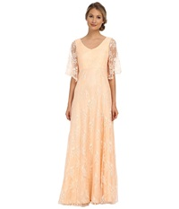Donna Morgan Lace With Sleeve Apricot Women's Dress Orange
