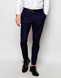Selected Homme Exclusive Pin Dot Suit Trousers In Skinny Fit Blue