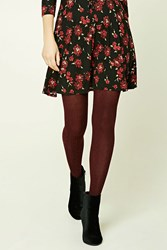 Forever 21 Cable Knit Tights Burgundy