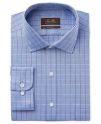 Tasso Elba Men's Classic Fit Indigo Herringbone Check Dress Shirt Only At Macy's