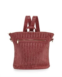 Neiman Marcus Distressed Woven Square Backpack Rose Pink