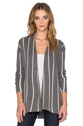 Velvet By Graham And Spencer Destiny Graphic Stripe Long Sleeve Cardigan Gray