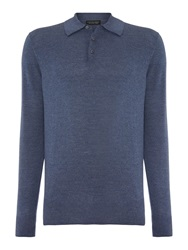 Chester Barrie Plain Crew Neck Pull Over Jumpers Blue