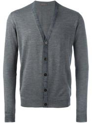 Etro Contrast Trim Cardigan Grey