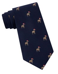 Lord And Taylor The Mens Shop Santa Hat Dog Textured Silk Tie Navy