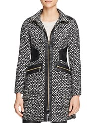 Via Spiga Popcorn Stitch Faux Leather Trim Coat Black White