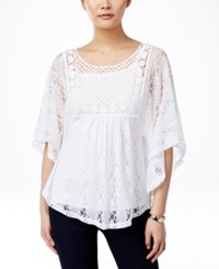 Styleandco. Style And Co. Lace Poncho Sleeve Top Only At Macy's Bright White