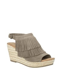 Minnetonka Ashley Suede Wedge Sandals Taupe