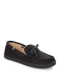 Isotoner Sherpa Lined Loafer Slippers Black