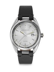 Givenchy Eleven Stainless Steel And Leather Strap Watch Black Silver Black