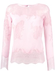 Ermanno Scervino Lace Insert Knitted Top Pink And Purple