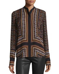 A.L.C. Franco Long Sleeve Silk Multipattern Top Brown Multicolor