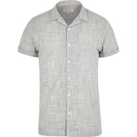 River Island Mens Grey Revere Collar Short Sleeve Shirt