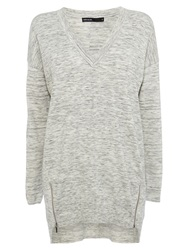 Karen Millen V Neck Tunic Top Pale Grey