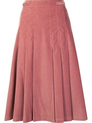 Gabriela Hearst High Waisted Pleated Skirt Pink And Purple