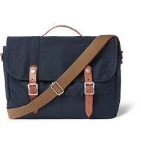 J.Crew Harwick Leather Trimmed Canvas Messenger Bag Blue