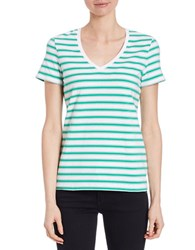Lord And Taylor Striped Short Sleeved Tee Bright Green