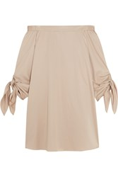 Tibi Off The Shoulder Cotton Crepe Mini Dress Beige