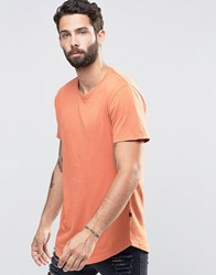 Only And Sons Longline T Shirt With Crew Neck Autumn Leaf Brown