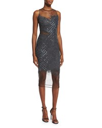 Pamella Roland Sleeveless Sequined Grid Cocktail Dress Gunmetal Grey Size 2