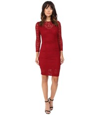 Nicole Miller Swirling Rose Illusion V Neck Lace Dress Crimson Red Women's Dress