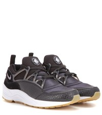 Nike Air Huarache Light Fabric And Leather Sneakers Black