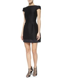 Halston Heritage Cap Sleeve Structured Cocktail Dress Size 6 Black