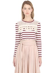 See By Chloe Striped Jersey And Lace Top With Fringe